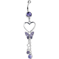 Purple Crystal In Love with Butterflies Dangle Belly Ring | Body Candy Body Jewelry