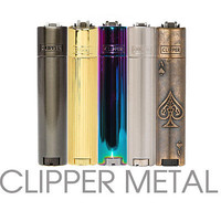 GENUINE METAL SERIES CLIPPER FLINT LIGHTER METALLIC CHROME GIFT CASE TIN VINTAGE