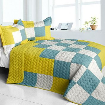 [Cute Little Princess] 3PC Vermicelli-Quilted Patchwork Quilt Set (Full/Queen Size)