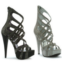 "5"" Metallic Heel with criss-crossing straps"