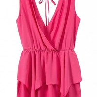 Hot Pink V-neck Layered Romper