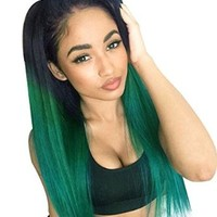 Ebingoo Ombre Green Straight Synthetic Lace Front Wig Glueless Black to Green Heat Resistant Hair Wigs JLS010 (18inches)