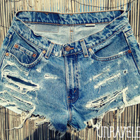 High Waisted Destroyed Jean Shorts (SMALL-MEDIUM)