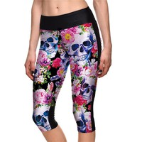 Colorful High Waist Women Mid-Calf Leggings Sexy Girls Fitness Yoga Cropped Trousers Elastic Flowers Skulls Breathable Capris