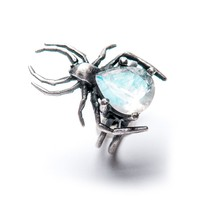 The Mini Eternal Weaver: Moonstone Spider Ring – Blood Milk Jewels