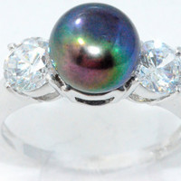 Peacock Freshwater Pearl With Zirconia Ring .925 Sterling Silver Rhodium Finish