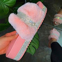 Women's shoes, large size sandals, women's new thick-soled wool slippers