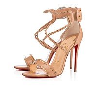 Christian Louboutin Cl Choca Spikes Nude/light Gold Leather Sandals 3170560n013