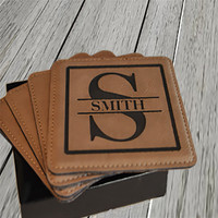 Personalized Dark Leather Square Coaster Set of 4