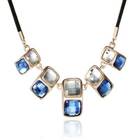 Neoglory Stylish Crystal Pendant Necklace Contrast Color 14K & Rose Gold Plated Jewelry Black Rope Multicolor Fashion Girls New
