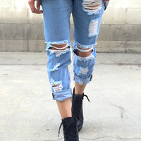 Ripped & Frayed BF Jeans