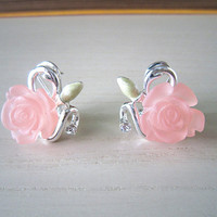 Nude pink rose stone earrings-silver with rose stone earrings-perfect gift