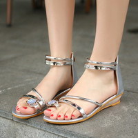 Rhinestone Flats Sandals Summer Beach Shoes Woman