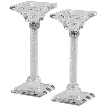 """Candlesticks Crystal Silver With Light Silver Stones 7""""X .75"""""""