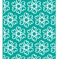 Hearts Blossom Rug - Teal and White