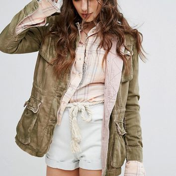 Free People Double Cloth Military Jacket at asos.com