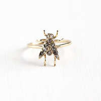 Antique 10k Yellow Gold Diamond Embellished Bug Ring - Vintage Late 1800s Fine Stick Pin Conversion Unique Rare Rose Cut Diamond Fly Jewelry