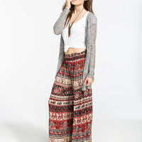 Angie Ethnic Print Womens Wide Leg Pants Brown  In Sizes