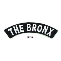 The Bronx State White on Black Small Rocker Patch Front for Biker Jacket Vest