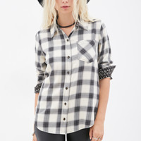 FOREVER 21 Floral-Trimmed Plaid Shirt Cream/Black