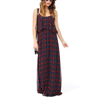 Red And Blue Plaid Spaghetti Strap Chiffon Maxi Dress