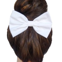 White Hair Bow Clip Handmade By Sweet in the City