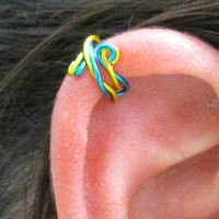 Spiral Ear Cuff - Twisted Peacock Blue & Yellow