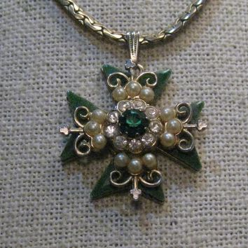 Vintage Coro Maltese Cross Necklace, Enameled, Faux Pearl, Rhinestones, 14""