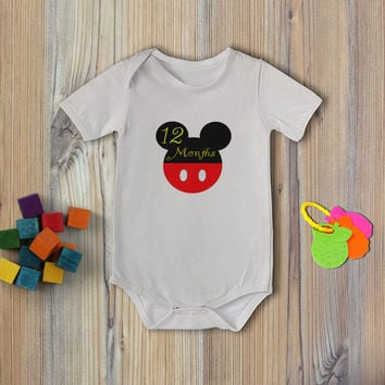 Instant Download - 14 Mickey Mouse Ears Red Black Yellow Baby Boy Newborn Monthly Milestone Stickers and Iron On DIY PDF Files