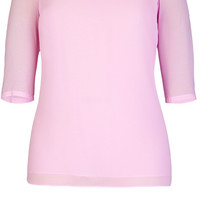 Plus Size Pink Cut-Out Neckline Top