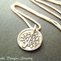 Eco-friendly Wax Seal Jewelry Recycled silver Tree Necklace