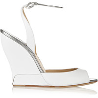 Paul Andrew - Delphi metal-trimmed leather wedge sandals
