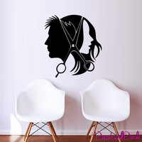Wall Decal Decor Decals Sticker Art Salon Beauty Hair Scissors Hairstyle Master Stylist Fashion Curler Glamour Haircut M1588 Maden in USA