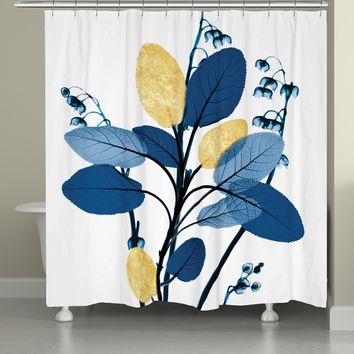 Blue and Gilded Leaves Shower Curtain