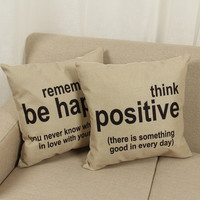 Think Positive Remember Be Happy Cotton Linen Throw Pillow Cushion
