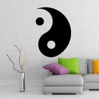 Yin and Yang Wall Vinyl Sticker, Symbol Taoism Daoism Art Decor Decal Philosophy for Yoga Training, Living Room, Home, Apartment, Office.