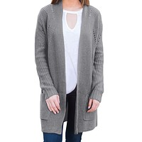 Gray Open Front Women Cardigan with Pockets