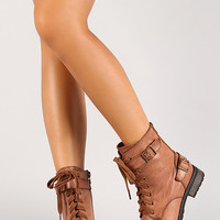 Belted Collar Military Lace Up Boot