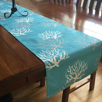 Aqua Coral Table Runner - One, Coastal Blue Wedding Table Decor, Beach Table Decor, Ocean Tablecloth, Sea Coral Decor, Ocean Decor