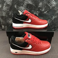 Nike Air Force 1 AF1 Low Two Tongue Logo Red Black Shoes