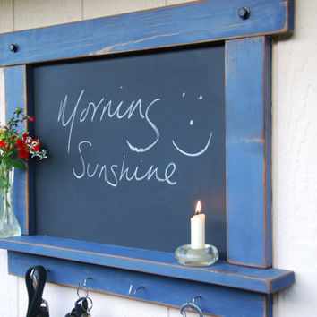 Rustic Chalkboard- Periwinkle With Shelf and Hooks -MADE TO ORDER
