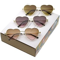 Women's Cute Metal Heart Shape Sunglasses 8796 [Promo Box]