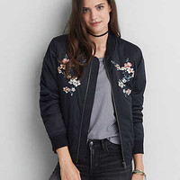 AEO Embroidered Bomber Jacket , Black