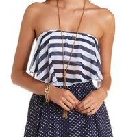 Striped Chiffon Flounce Tube Top by Charlotte Russe