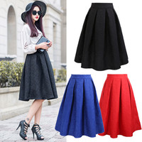 OOPS Plus Size Vintage Midi Skirts Fashion 2016 Spring Casual Pleated Knee-length Ball Gown Skater Women's Skirts Saias A14105