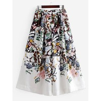 Pleated Detail Florals Culotte Pants