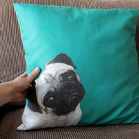 Pug Pillow cover in blue green, aqua,  turquoise    - fits pillow 50x50cm / 20x20in