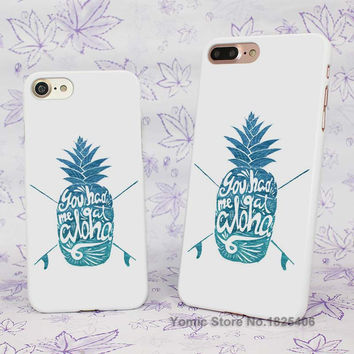 Blue Hawaiian Pineapple Summer Travel Quotes Design hard White Skin Case Cover for Apple iPhone 7 6 6s Plus SE 5c 5 5s 4 4s