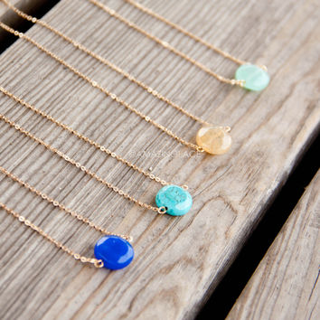 Stone's Throw Round Stone Pendant Necklaces