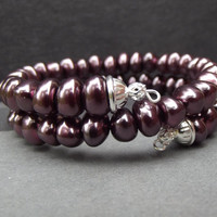 Burgundy Pearl Bracelet:  Wine Beaded Wrap Bracelet, Stacked Memory Wire Cuff Gothic Winter Wedding Jewelry
